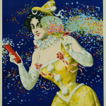 Party Graphic of Female Reveler with Fan and Confetti