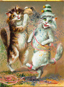 Confetti Postcard with Dancing Cats