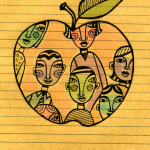 drawing on note paper of an apple with students inside