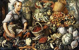Γυναίκα στην Αγορά με Φρούτα, Λαχανικά και Πουλερικά