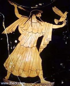 Αναπαράσταση του Δία σε αγγείο, κρατάει κεραυνό και αετό.
