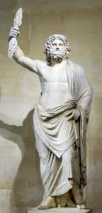 Άγαλμα του Δία που κρατάει ένα κεραυνό